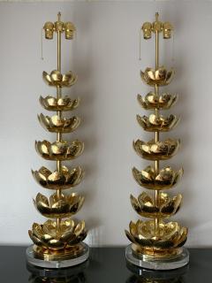 Feldman Lighting Co Pair of Brass Lotus Lamps - 1006067