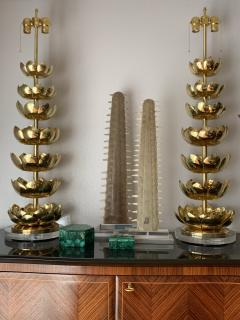 Feldman Lighting Co Pair of Brass Lotus Lamps - 1006074