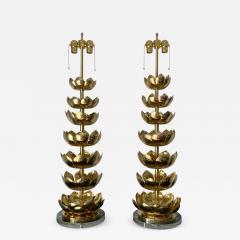 Feldman Lighting Co Pair of Brass Lotus Lamps - 1006430