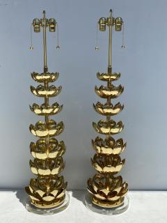 Feldman Lighting Co Pair of Brass Lotus Lamps - 1452728