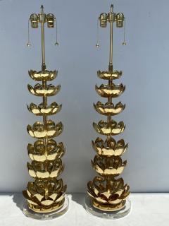 Feldman Lighting Co Pair of Brass Lotus Lamps - 1452729
