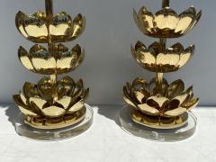 Feldman Lighting Co Pair of Brass Lotus Lamps - 1452730