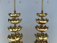 Feldman Lighting Co Pair of Brass Lotus Lamps - 1452731