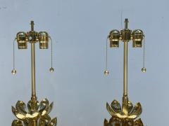 Feldman Lighting Co Pair of Brass Lotus Lamps - 1452732