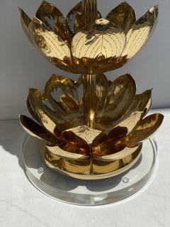 Feldman Lighting Co Pair of Brass Lotus Lamps - 1452733