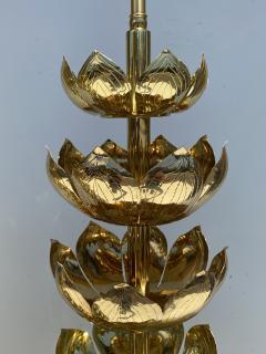 Feldman Lighting Co Pair of Brass Lotus Lamps - 1452735