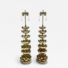 Feldman Lighting Co Pair of Brass Lotus Lamps - 1453675