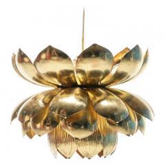 Feldman Lighting Co Pair of Large Brass Lotus Fixtures by Feldman in the Style of Tommi Parzinger - 1976540