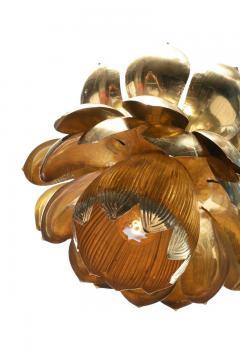 Feldman Lighting Co Pair of Large Brass Lotus Fixtures by Feldman in the Style of Tommi Parzinger - 1976542