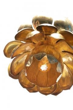 Feldman Lighting Co Pair of Large Brass Lotus Fixtures by Feldman in the Style of Tommi Parzinger - 1976544