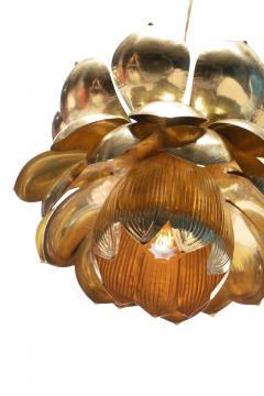 Feldman Lighting Co Pair of Large Brass Lotus Fixtures by Feldman in the Style of Tommi Parzinger - 1976545