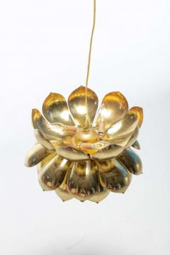Feldman Lighting Co Pair of Large Brass Lotus Fixtures by Feldman in the Style of Tommi Parzinger - 1976546