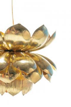 Feldman Lighting Co Pair of Large Brass Lotus Fixtures by Feldman in the Style of Tommi Parzinger - 1976547