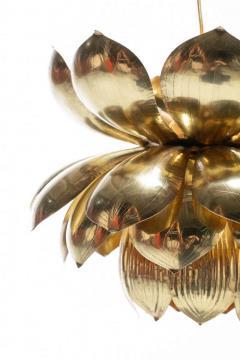 Feldman Lighting Co Pair of Large Brass Lotus Fixtures by Feldman in the Style of Tommi Parzinger - 1976548