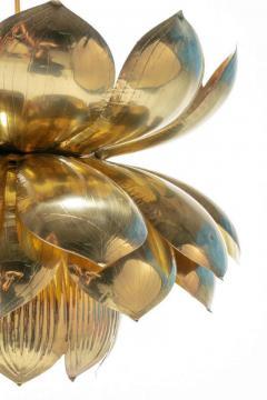Feldman Lighting Co Pair of Large Brass Lotus Fixtures by Feldman in the Style of Tommi Parzinger - 1976549