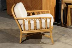 ficks reed - decorative pair of vintage rattan lounge chairs by