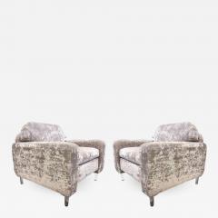Flavor Custom Design Pair Of Flavor Custom Design Lounge Chairs In Velvet  With Lucite Legs