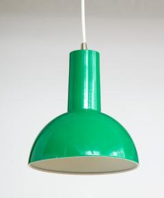 Fog M rup Danish Green Mid Century Dome Pendant with White Cord c 1960 - 2115333