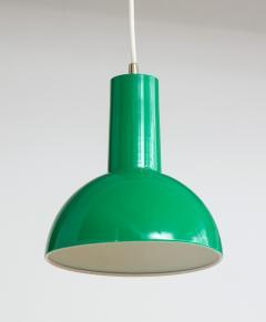 Fog M rup Danish Green Mid Century Dome Pendant with White Cord c 1960 - 2115334
