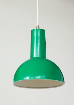 Fog M rup Danish Green Mid Century Dome Pendant with White Cord c 1960 - 2115336