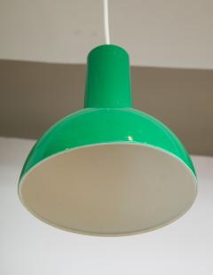 Fog M rup Danish Green Mid Century Dome Pendant with White Cord c 1960 - 2115338