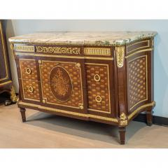 Forest Ormolu Mounted Parquetry Marquetry Mahogany Marble Top Commode - 1990730