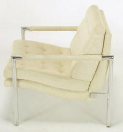 Founders Furniture Company Pair of Polished Aluminum Linen Lounge Chairs in the Manner of Harvey Probber - 271561
