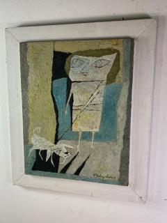 Fraydas MID CENTURY ABSTRACT WOMAN WITH DOG PAINTING SIGNED FRAYDAS - 1527894
