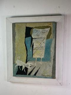 Fraydas MID CENTURY ABSTRACT WOMAN WITH DOG PAINTING SIGNED FRAYDAS - 1527895