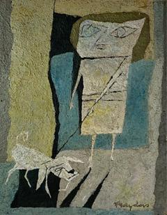Fraydas MID CENTURY ABSTRACT WOMAN WITH DOG PAINTING SIGNED FRAYDAS - 1528789