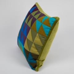 Full Circle Modern Original One of a kind square quilted pillow in green blue and lavender cotton - 662368