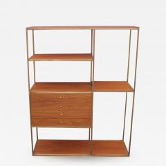 Furnette Inc Walnut and Brass Etagere by Furnette in the Style of Paul McCobb - 1444481