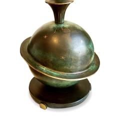 GAB Guldsmedsaktiebolaget Table lamp with Saturn theme in patinated brass attributed to GAB - 1276225