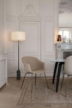 GamFratesi Design Studio GamFratesi Bat Dining Chair in Grey with Antique Brass Conic Base - 1671947