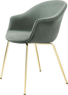 GamFratesi Design Studio GamFratesi Bat Dining Chair in Grey with Antique Brass Conic Base - 1671955