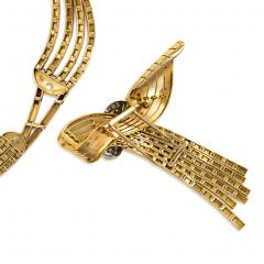 Garrard Co Garrard London 1940s Gold Necklace with Detachable Gold and Diamond Brooch - 828192