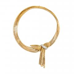 Garrard Co Garrard London 1940s Gold Necklace with Detachable Gold and Diamond Brooch - 829087