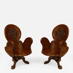 Gaudi 3 Pair of Art Nouveau 19 20 Cent Teak Armchairs - 422433