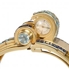 Ghis Ghiso 1940s Gold Sapphire and Aquamarine Bracelet Watch France - 1669414