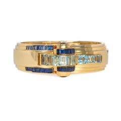 Ghis Ghiso 1940s Gold Sapphire and Aquamarine Bracelet Watch France - 1670464