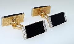 Ghis Ghiso Art Deco Onyx and Diamond Cufflinks - 1139641