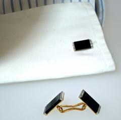 Ghis Ghiso Art Deco Onyx and Diamond Cufflinks - 1139642