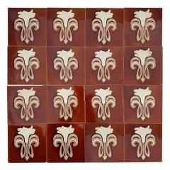 Gilliot 1 of 30 Art Jugendstil Ceramic Tiles by Gilliot Te Hemiksem circa 1920 - 1298750