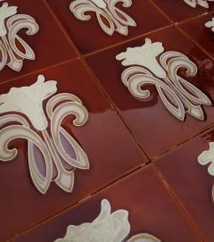 Gilliot 30 Art Jugendstil Ceramic Tiles by Gilliot Fabrieken Te Hemiksem circa 1920 - 1298243
