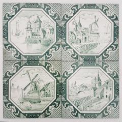 Gilliot Set of 4 of Ceramic Tiles by Gilliot Total 200 Tiles 1930 - 1298185
