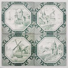 Gilliot Set of 4 of Ceramic Tiles by Gilliot Total 200 Tiles 1930 - 1298186