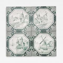 Gilliot Set of 4 of Ceramic Tiles by Gilliot Total 200 Tiles 1930 - 1307466