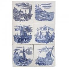 Gilliot Set of 6 of Total 120 Dutch Blue Ceramic Tiles by Gilliot Hemiksen 1930s - 1298266