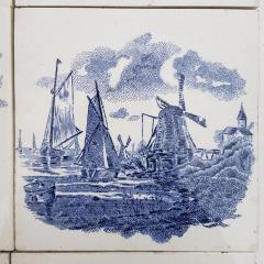 Gilliot Set of 6 of Total 120 Dutch Blue Ceramic Tiles by Gilliot Hemiksen 1930s - 1298269