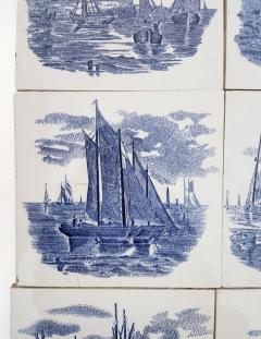 Gilliot Set of 6 of Total 120 Dutch Blue Ceramic Tiles by Gilliot Hemiksen 1930s - 1298270
